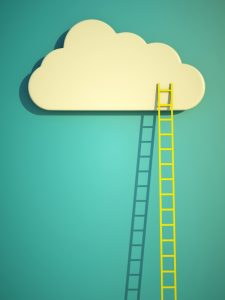 a competition concept, cloud with ladders on blue